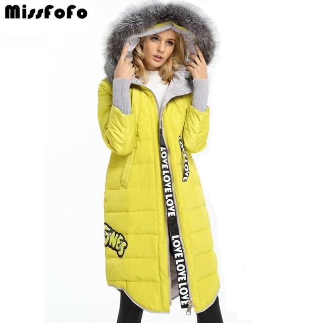 MissFoFo 2017 вниз пальто оверсайз модная куртка сплошной цвет натуральный мех длинный женский S капюшон меховой воротник вниз плюс размер верхняя одежда