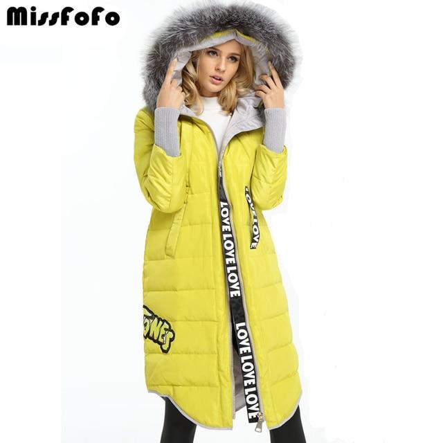 Missfofo 2017 Подпушка oversize пальто модная куртка одноцветное Цвет Натуральный мех длинный женский 3XL капюшоном меховой воротник вниз плюс Размеры верхняя одежда