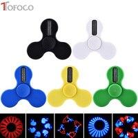 TOFOCO LED Lighting Smart Fidget Spinner Plastic Desk Tri Spinner Gift Cube Figet Spinner Finger Focus