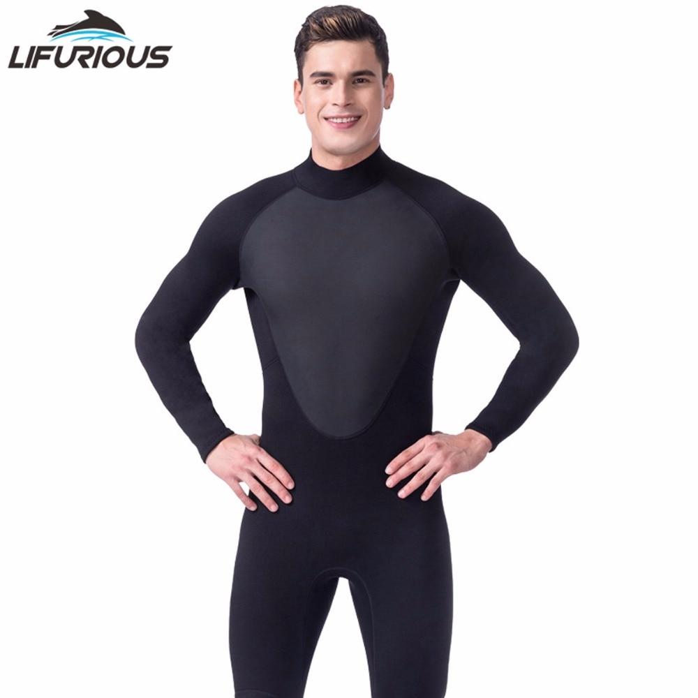 Hot LIFURIOUS Brand Spearfishing Surf Swim Equipment Swimwear Black 3mm Full Body Neoprene Scuba Dive Wetsuit Men Diving Suit