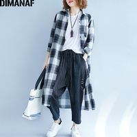 DIMANAF Women Blouse Shirt Cotton Autumn Femme Basic Tops Plus Size Plaid Print Office Lady Clothing Loose Long Sleeve Cardigan