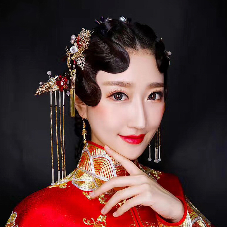 bride headdress of Chinese ancient costume red tassel hair hair women classical crystal ornaments kimono accessories цена 2017