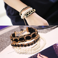 Multi-layer pearl bracelet bohemia bracelet female personality mix match bracelet