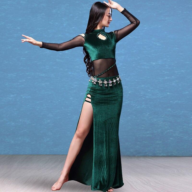 Nouveau ventre Oriental robe femmes indien danse du ventre pratique vêtements à manches longues velours longues robes Sexy Costume Costume DL3171