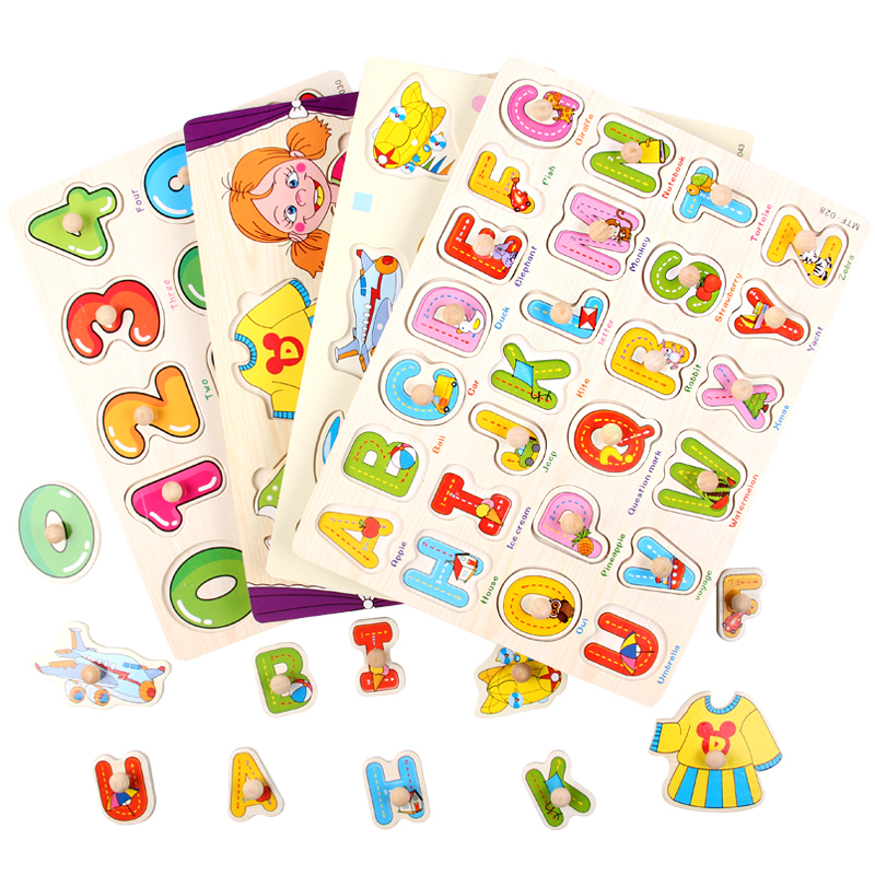 Montessori Educational Wooden Toys Alphabet Puzzle Upper Case Montessori Materials Sensorial Preschool Learning Aids UD0364H