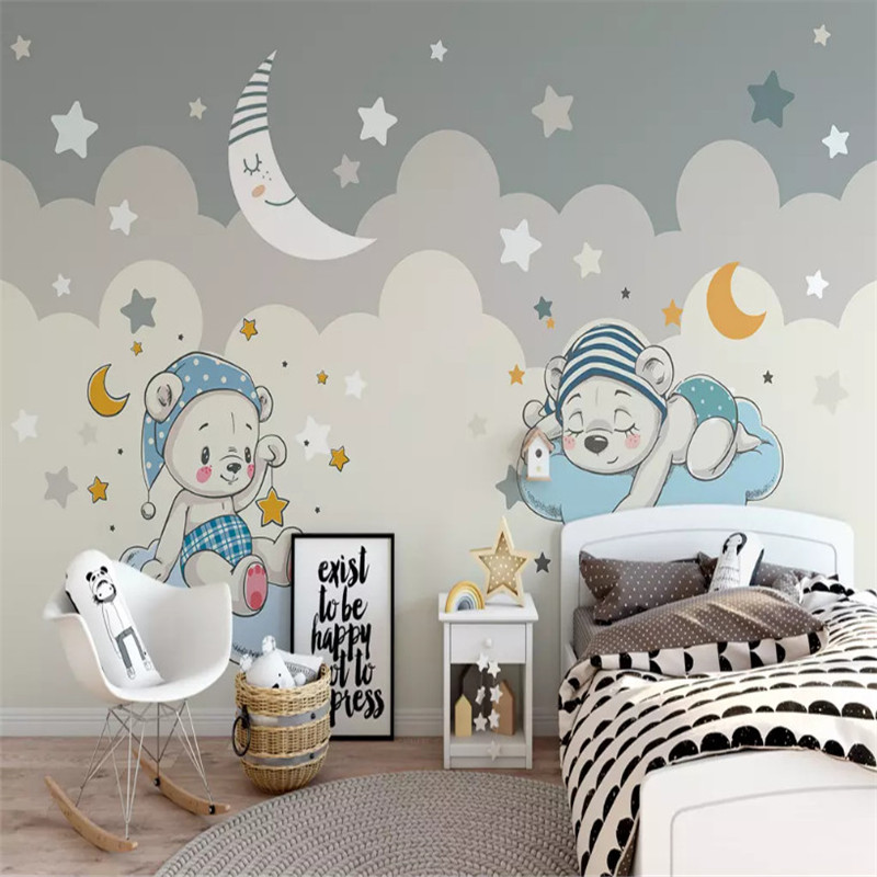Custom 3d wallpaper cartoon bear moon background wall painting high grade waterproof material in Wallpapers from Home Improvement