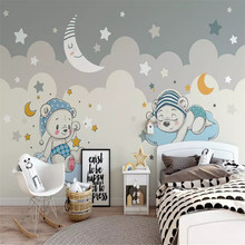 Custom 3d wallpaper cartoon bear moon background wall painting high-grade waterproof material
