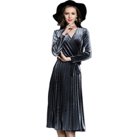 Winter Velvet Wrap V Neck Dress Women High Waist Vintage Metallic Grey Party Dresses Long Sleeve