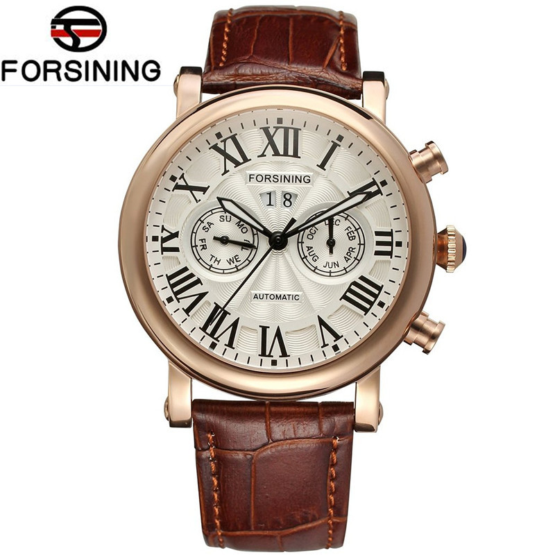 Forsining Relogios Masculino Men's Day/Week/Month Auto Mechanical Watches Wristwatch Brown Genuine Leather Gift Box Free Ship 2016 luxury relogio masculino day week month tourbillon auto mechanical watch wristwatch valentine s day gifts box free ship