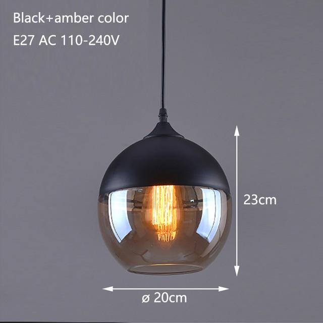 Nordic Modern loft hanging Glass Pendant Lamp Fixtures E27 E26 LED Pendant lights for Kitchen Restaurant Bar living room bedroom 3