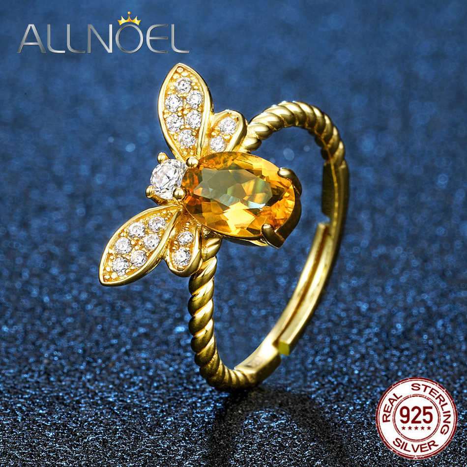 ALLNOELBee 5x7mm 1ct Natural Oval Citrine 925 Sterling Silver Jewelry Wedding Ring with 14K Gold Plated S925 Zircon Diamond Ring
