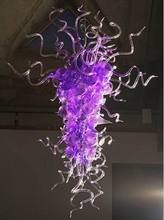 Art Decoration Purple Color Glass Modern Chandelier Light Chihuly Style Hand Blown LED Chain