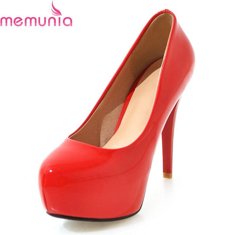 MEMUNIA large size 34-45 spring autumn sexy red women pumps stiletto high heels round toe platform concise bridal shoes мужские ботинки spring autumn hightop size38 45 2