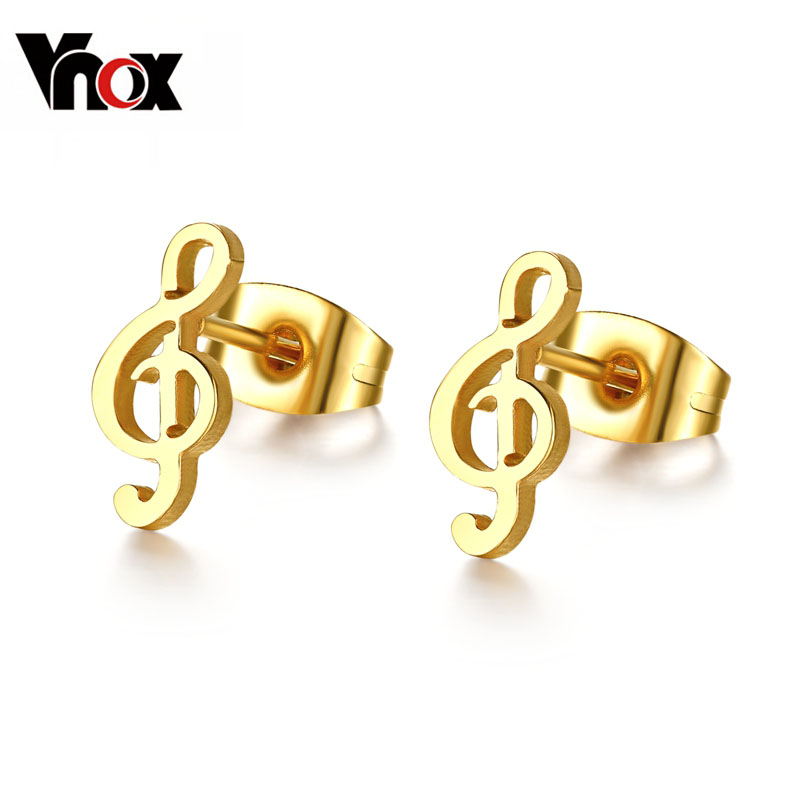 Vnox Cute music stud earrings for women small ear gold color ...