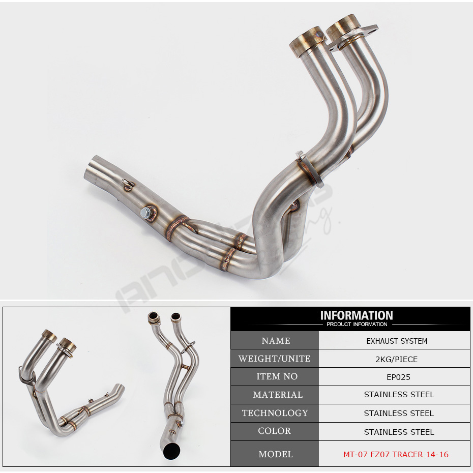 Motorcycle exhaust muffler contact middle pipe full system slip on for FOR  Yamaha MT-07 FZ-07 MT07 2014-2016 XSR700 2016-2017