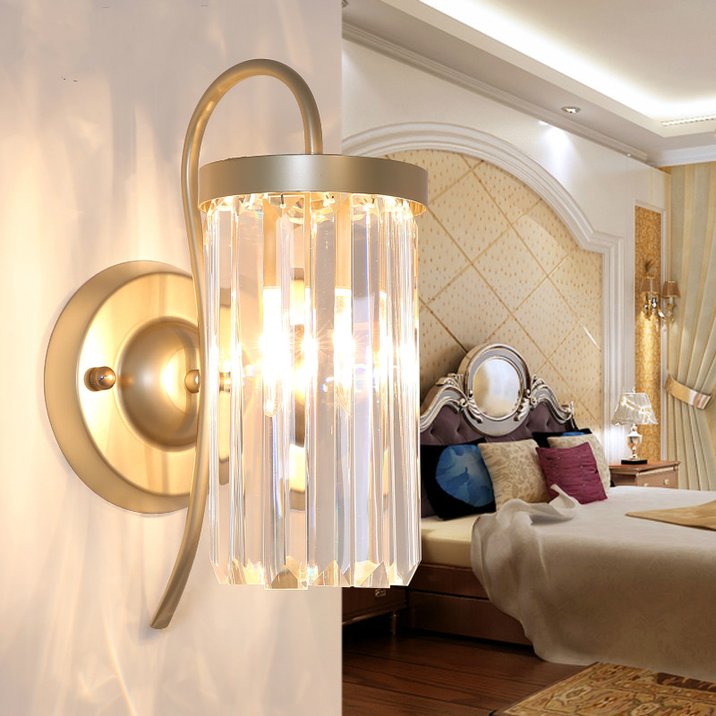 modern crystal wall lamp creative personality living room wall lamp bedroom bedside lamp simple European aisle lamps ZA425659 french garden vertical floor lamp modern ceramic crystal lamp hotel room bedroom floor lamps dining lamp simple bedside lights