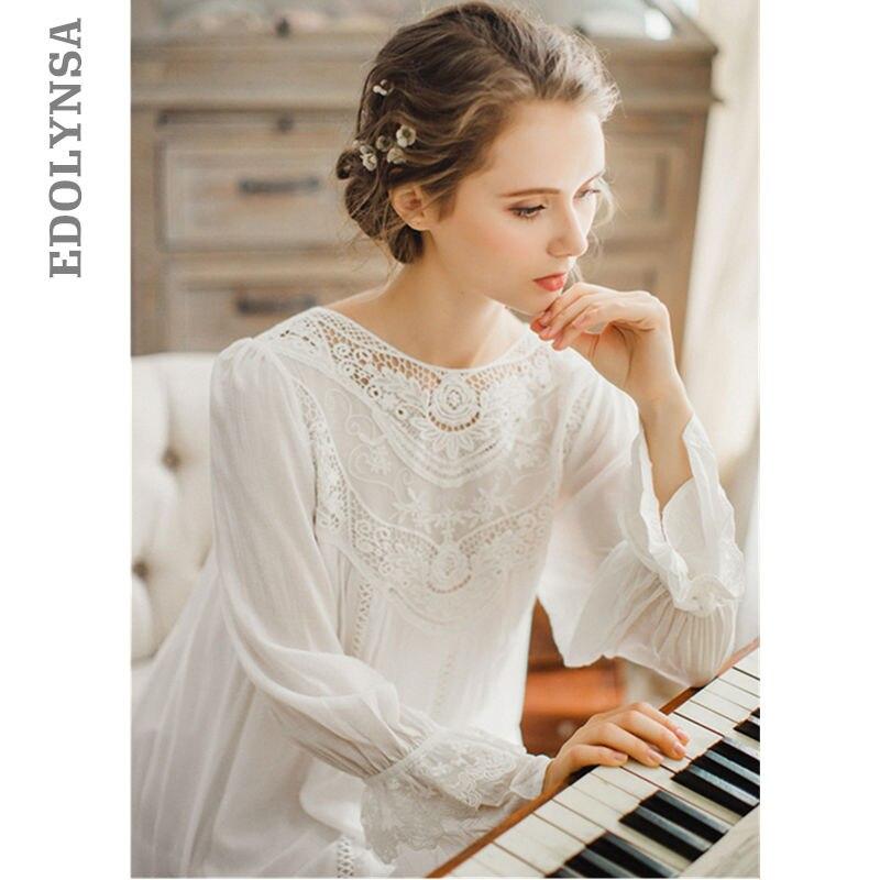 Femmes vêtements de Nuit Dentelle Manches Longues Vintage Princesse Sommeil Salon Robe Bleu Clair Élégant D'été Chemises de Nuit En Coton Plus La Taille T25