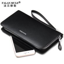 FALAN MULE Business Men Wallets Long Zipper Male Wallet Genuine Leather Wallet Men Purses Wallet Male Clutch Handy Bag Clutch