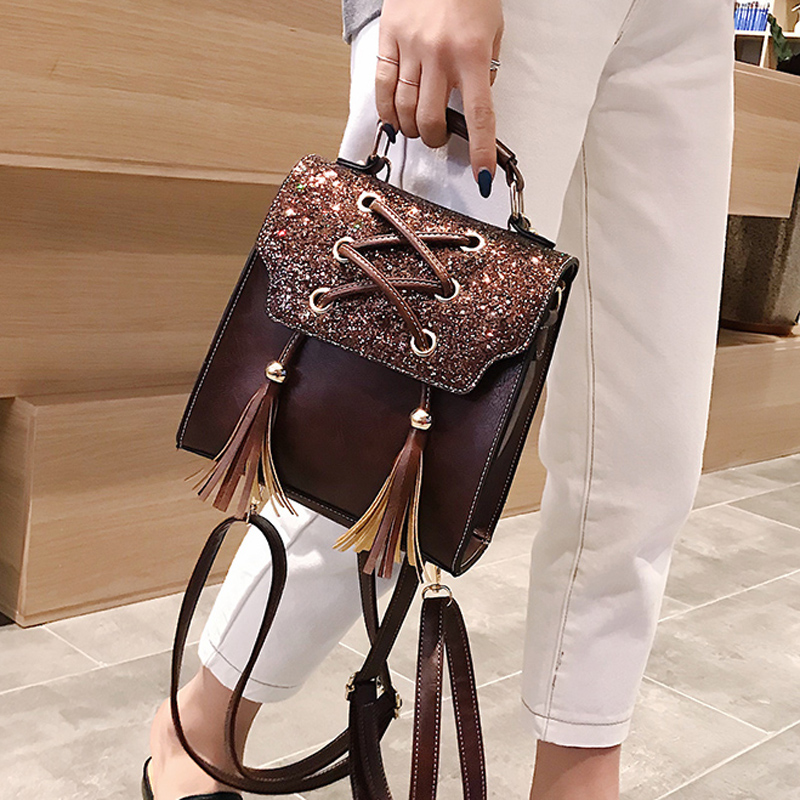 fe81a42e5e3b3 New Design Sequin Women Backpack Solid Hasp Female Bag Fashion Girls School Bags  Lady Small PU. Mouse over to zoom in