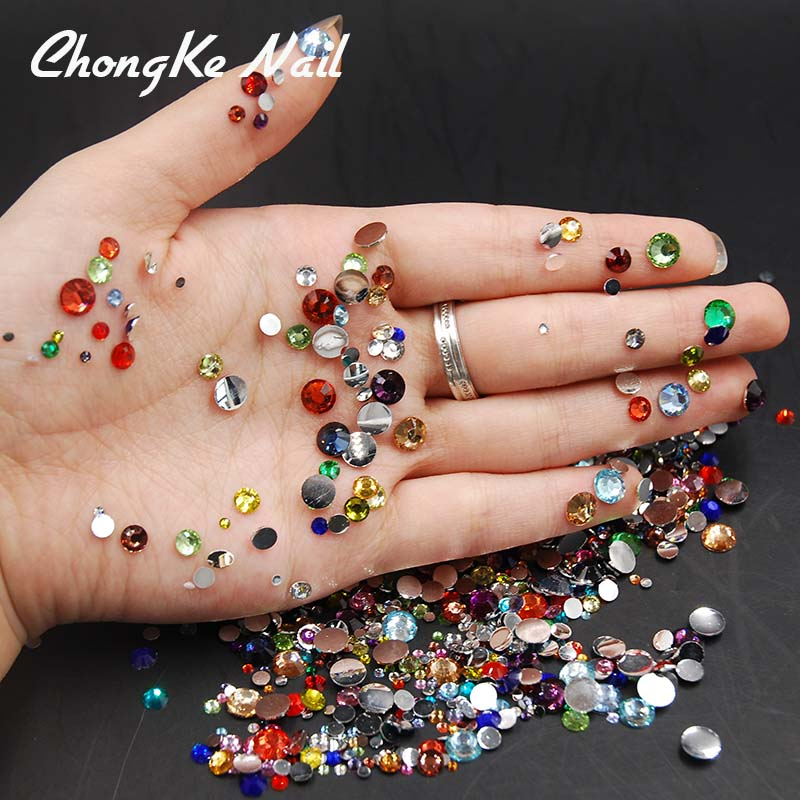 5000pcs/pack Mixed Sizes Mixed Colors Flat Back Acrylic Rhinestone Nail Art Rhinestones