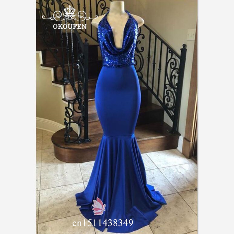 Royal Blue Sequined Top and Satin Skirt Evening   Dress   For Women 2019 Plunging Neck Long Robe De Soiree Formal   Prom     Dresses   Gown
