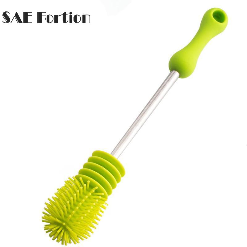 1pcs Baby Bottle Brushes Nipple Pacifier Tube Silicon Brushes Kids Milk Feeding Cleaning Silicone Bottle Brush SQA9091