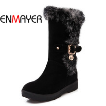 ENMAYER Fashion Winter Warm Woman Boots Black Red Snow Boots High Quality Round Toe Mid-Calf Boots Buckle Flock Shoes for Women