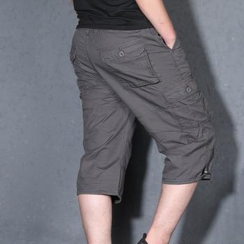 Summer Men's Baggy Multi Pocket Cargo Straight Shorts breeches Male Long Army Green Khaki Mens Loose Short Plus Size S-5XL Men's Bottoms