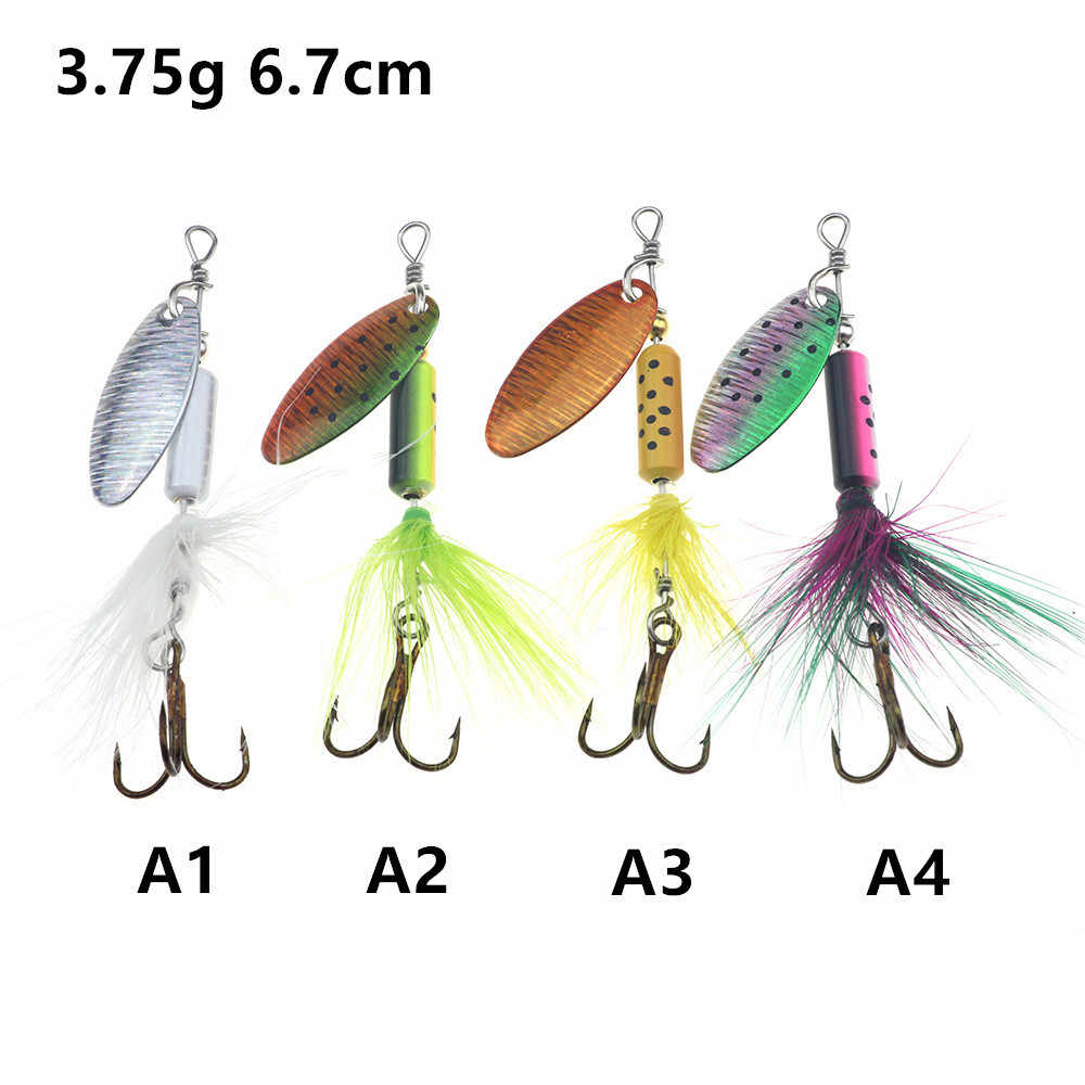 Spinner Fishing Lures Shone Metal Sequin Trout Spoon With Feather Hooks For Carp Fishing