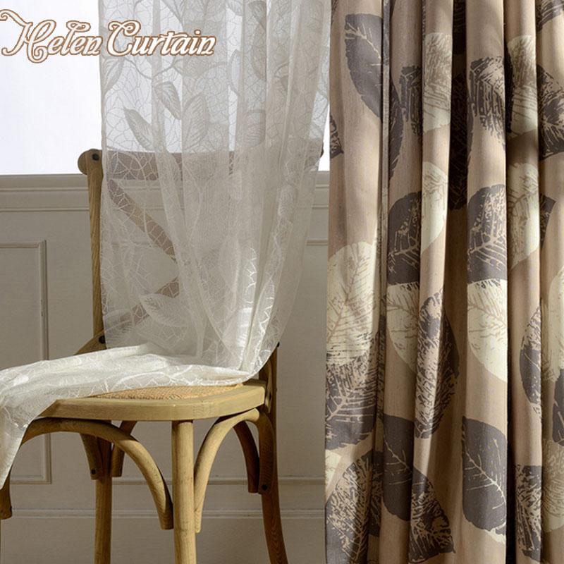 helen cortina americana impresa hojas de lino blanco de tul hilo para dormitorio moderno saln cortinas