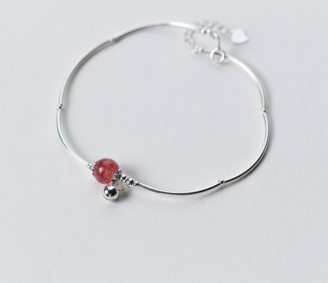100% Reale. 925 Sterling Silver Jewelry Rotonda Naturale Strawberry Quartz Stone & Gtls438 Sfera Del Braccialetto Del Calzino Del Braccialetto Regolabile Saldi Estivi Speciali