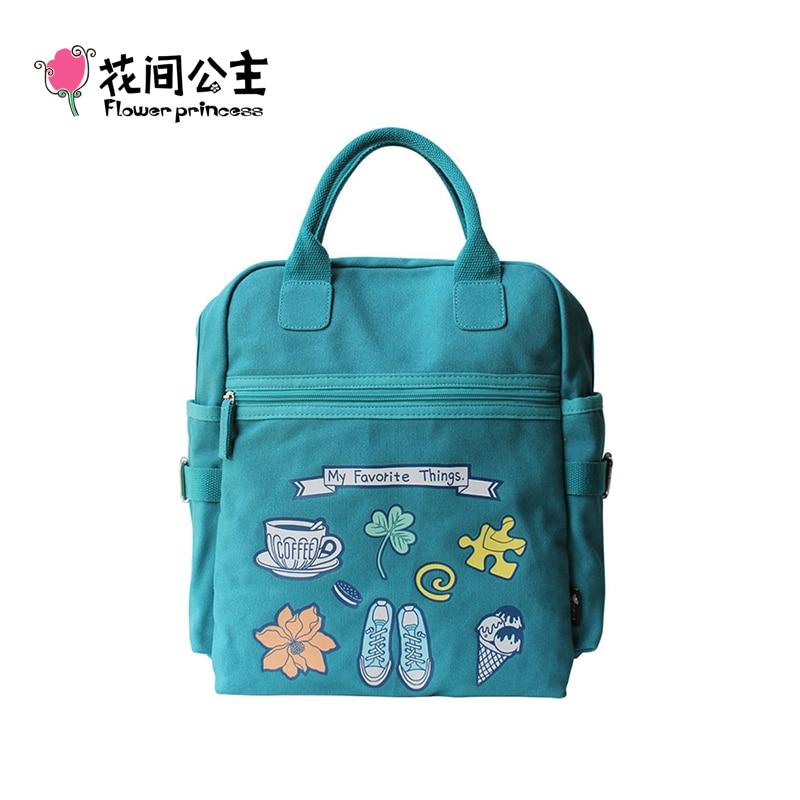 Flower Princess Brand Women Floral Canvas Backpacks Teenagers School Fashion Bags Girls Student Shoulder Bag mochila feminina