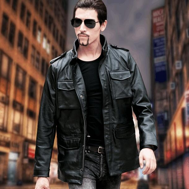 DHL Free shipping.plus Brand classic men M65 cow leather Jackets mens genuine Leather biker jacket.sales plus size 6