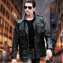 送料無料。ブランドクラシックM65男牛革ジャケット、男性の革のコート。冬の革の服。販売プラスサイズ、品質