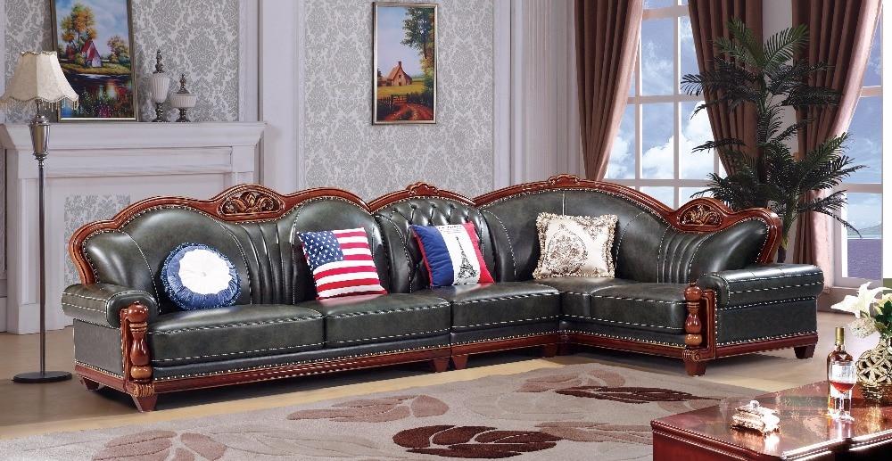 european leather sofa set living room sofa china wooden frame l shape corner sofa green