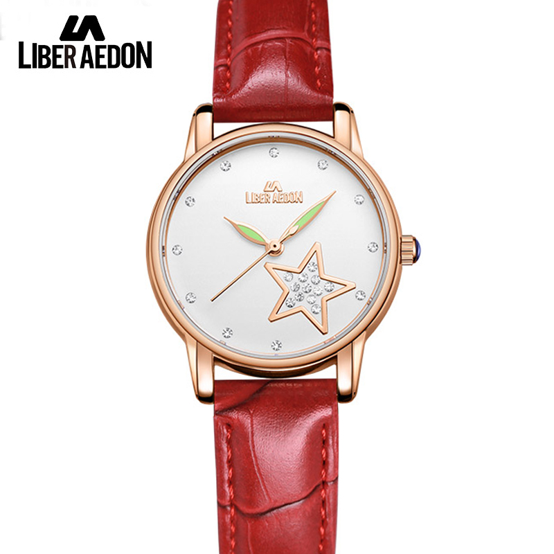 Liber Aedon Fashion Crytal Quarts Leather Band Women Watch Women Wrist Watches Relojes 2017 Ladies Bracelet