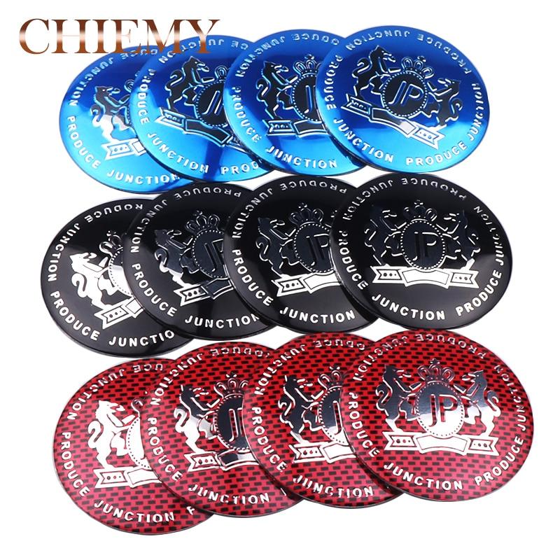 4pcs/lot Car Styling 56mm Aluminum Alloy Tyre JP Junction Produce Car Tyre Steering Wheel Center Hub Cap Sticker Emblem Badge