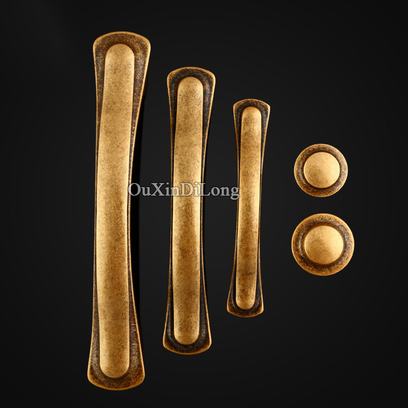 HOT 8PCS European Retro Pure Brass Kitchen Door Furniture Handles Hardware Cupboard Drawer Wardrobe Cabinet Pull Handles & Knobs new luxurious kitchen wardrobe cabinet knobs drawer door handles pull handles furniture hardware 64mm 96mm 128mm