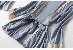 Image 5 - 2020 Three Piece Female Sexy Lace Silk Pajamas Set Robe Sling Pajamas Long Sleeved Pants Women Nightgown Wedding Sleepwear
