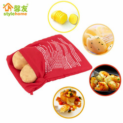 1PC NEW Red Washable Cooker Bag Baked Potato Microwave Cooking Potato Quick Fast (cooks 4 potatoes at once) Kitchen Accessories