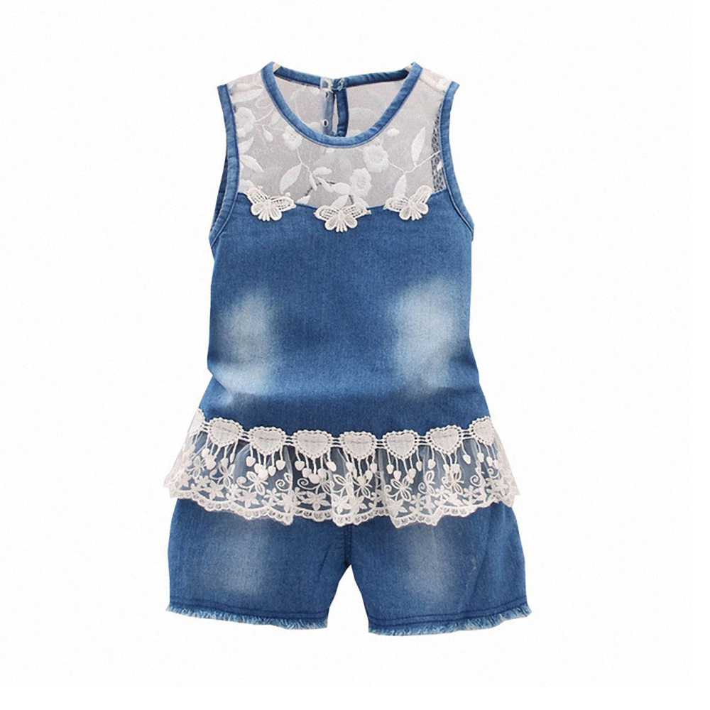 6bf5206f3ed Online Shop BibiCola 2017 Fashion Baby Girls Summer Clothes Set toddler  Denim clothing Suit sleeveless vest Jeans tops + shorts Flower Lace