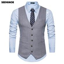 Seenimoe Mens Formal Blazer vests Smart Casual Vests Solid Color Single-breasted
