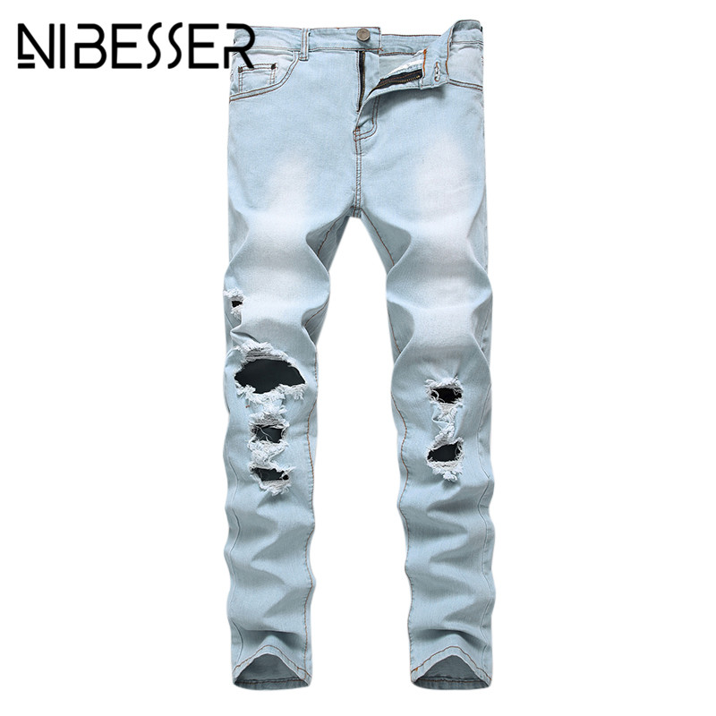 NIBESSER Men Pencil Jeans Fashion Casual Ripped Hole Skinny Denim Trousers 2017 Light Blue Male Bottoms Jeans High Quality 30 denim overalls male suspenders front pockets men s ripped jeans casual hole blue bib jeans boyfriend jeans jumpsuit or04