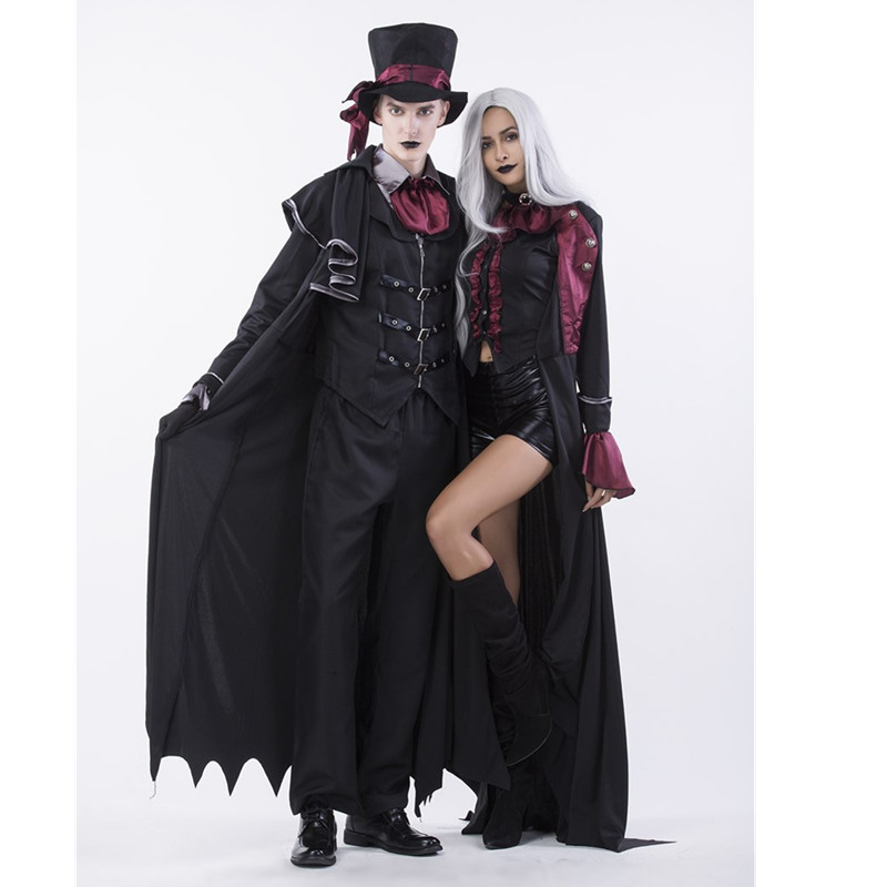 b02cee3bea2 Costumi   accessori Deluxe 6Pcs Set Gothic Halloween Sexy Witch Vampire  Costume Man Womens Cosplay Party Costume for Adult Couples Clothing m40373