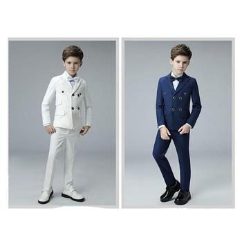 2018 New Blue boys suits for weddings kids Blazer Suit for boy costume enfant garcon mariage jogging garcon blazer boys tuxedo