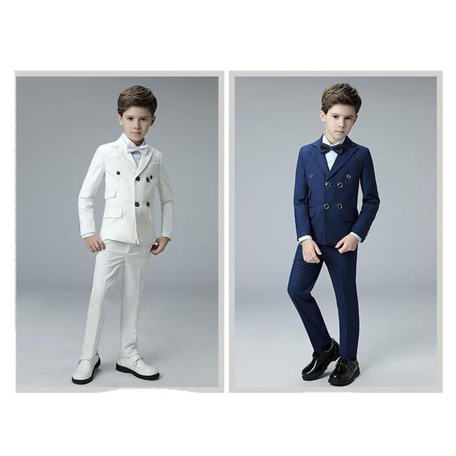 aa3be7ef33179 2018 Nouveau Bleu costumes de garçons pour les mariages enfants Blazer Costume  pour garçon costume enfant