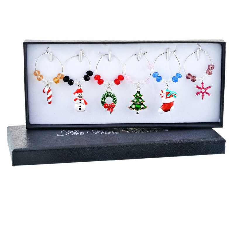 6PCs/Box Mixed Wine Charms Enamel Pendant Snowman Reindeer Snowflake Crystal Wine  Christmas Table Decorations