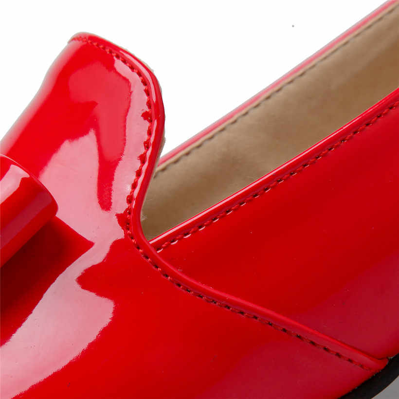 Britse Bowtie Vrouwen Loafers Rood Lakleer Ronde Neus Slip-on Rhinestone Hak Flats Retro Casual Kantoor Dame Jurk mocassins