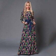 S 。味クリアランス販売の女性のプリントロングドレスエレガントな 3/4 スリーブ O ネック Vestidos 女性女性の秋のドレス