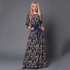 Image 1 - S 。味クリアランス販売の女性のプリントロングドレスエレガントな 3/4 スリーブ O ネック Vestidos 女性女性の秋のドレス